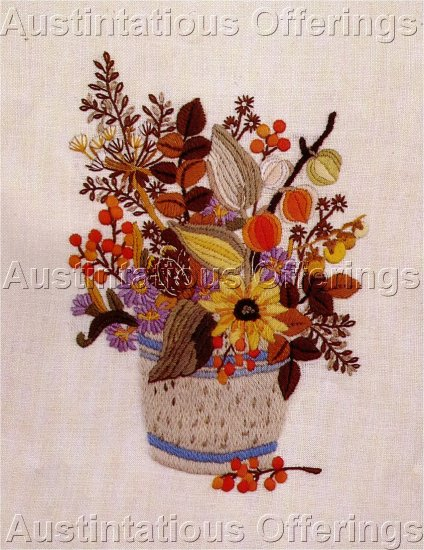 Vintage Crewel Natures Floral Basket Embroidery Kit