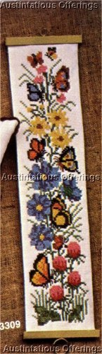 CROSS STITCH FLORAL BUTTERFLIES BANNER KIT