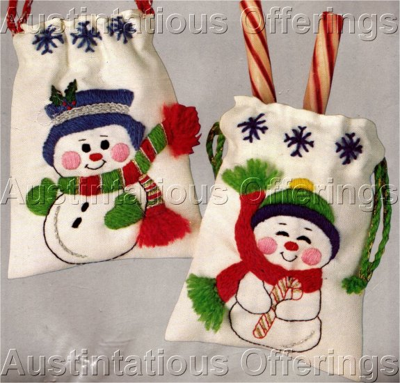 CHRISTMAS JOLLY SNOWMAN GIFT BAGS EMBROIDERY KIT