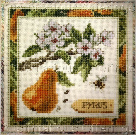 CROSS STITCH KIT PEAR BLOSSOMS, PEAR, BEE, YELLOW, GREEN