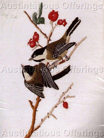 AUDUBON BIRD CREWEL EMBROIDERY KIT CHICKADEES BERRY TREE
