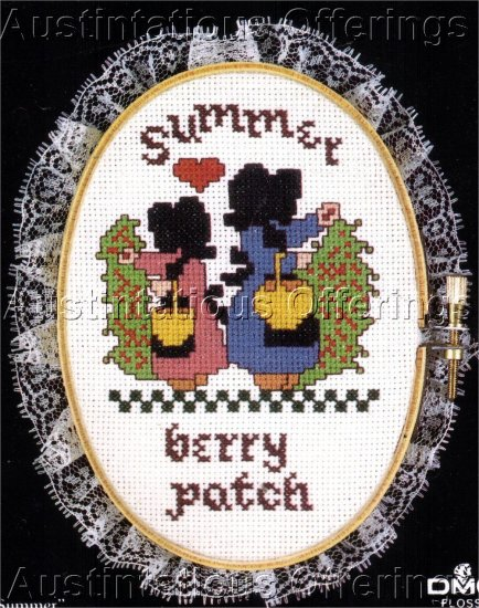 SIMPLE AMISH LADY PICKING BERRIES CROSS STITCH KIT