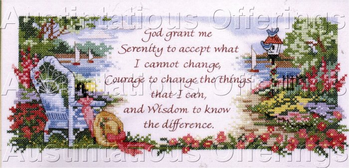 SERENITY FLORAL CROSS STITCH KIT BY BARBARA MOCK INSPIRATIONAL VERSE