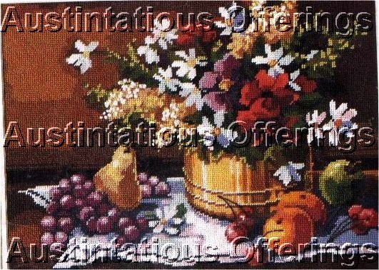 RARE GILLUM BOUNTIFUL FRUIT FLORAL STILL LIFE NEEDLEPOINT KIT