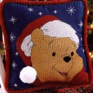 SANTA POOH BEAR SNOWY CHRISTMAS CROSS STITCH PILLOW KIT