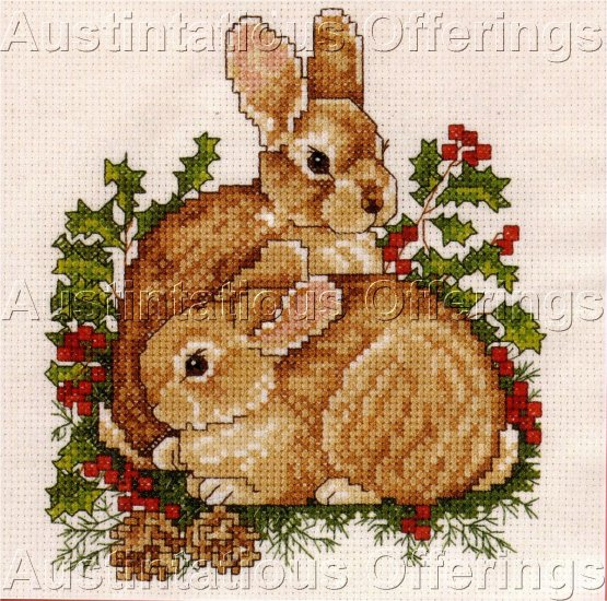 WOODLAND BUNNIES HOLLY BERRIES MINI CROSS STITCH KIT
