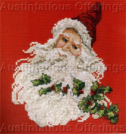 VINTAGE STYLE ST NICHOLAS CROSS STITCH KIT SANTA HOLLY