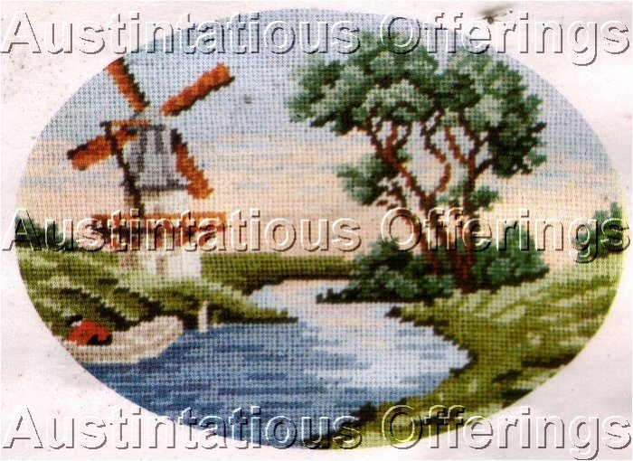 RARE MCINTOSH WOOL PETIT POINT NEEDLEPOINT WINDMILL SUMMER SKY