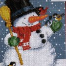 CHRISTMAS CROSS STITCH KIT SNOWMAN BLUE BIRDS, CARDINAL