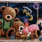 TEDDY BEAR FAMILY CROSS STITCH KIT NIGHT TIME NURSERY TOYS