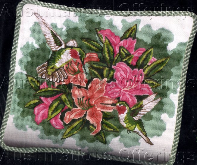HUMMINGBIRD NEEDLEPOINT PILLOW KIT LILIES HUMMER FLORAL