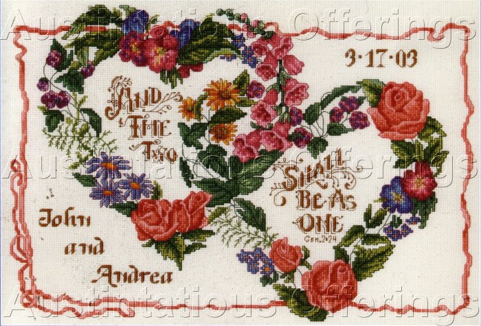FLORAL WREATH MARRIAGE KEEPSAKE CROSS STITCH KIT  MARRIAGE