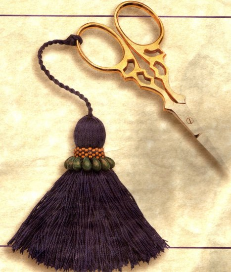 VICTORIAN BEADED FUNCTIONAL SILK TASSLED SCISSORS KIT
