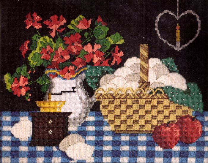 RUSTIC  NEEDLE POINT KIT STILL LIFE BY KAREN AVERY