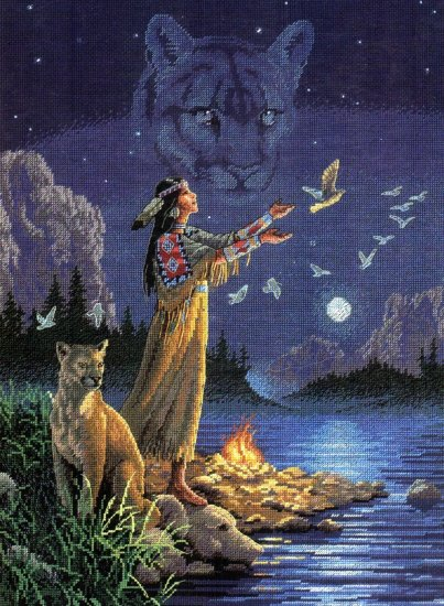 Rare Native Spirits Cross Stitch Kit Native American Indian Maiden Prayers