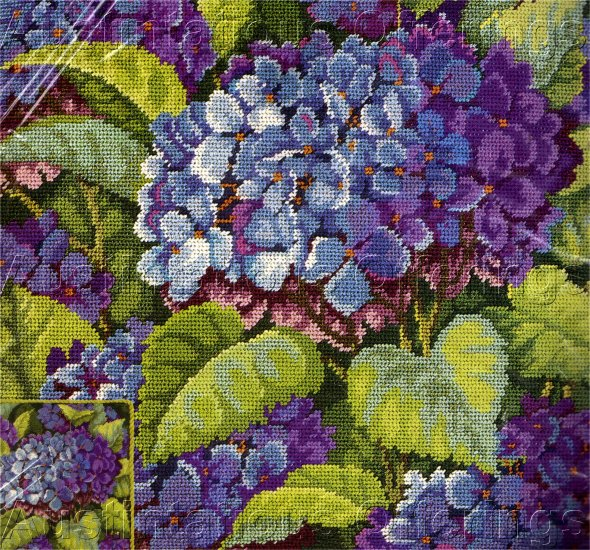 RARE BAATZ HYDRANGEA NEEDLEPOINT PILLOW KIT/ DEEP BLUE & VIOLET HYDRANGEAS