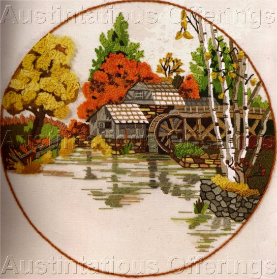 Rare gerrish mill stream crewel embroidery kit fall pond for Design of oxidation pond