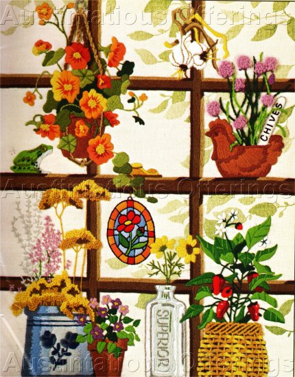 RARE JENNINGS FLORAL GARDEN WINDOW CREWEL EMBROIDERY KIT