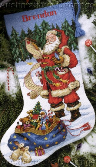 WOODLAND SANTA CHRISTMAS LIST CROSS STITCH STOCKING KIT