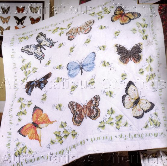 BUTTERFLIES STAMPED CROSS STITCH LAP QUILT KIT SWALLOWTAIL MONARCH & MORE!