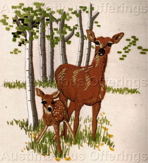 RARE  DOE & FAWN OVERTON WOODLAND ANIMAL CREWEL EMBROIDERY KIT DEER
