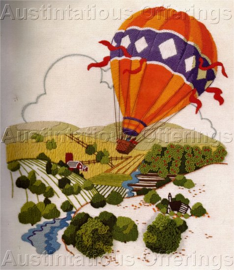 RARE FARM LAND HOUSEWORTH CREWEL EMBROIDERY KIT HOT AIR BALLOONING