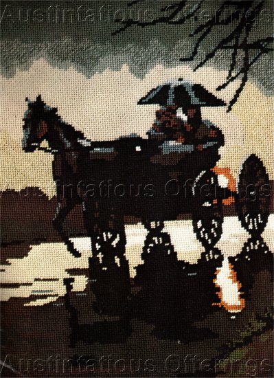 RARE REINARDY SILHOUETTE ART NEEDLEPOINT KIT CARRIAGE RIDE RAINSTORM