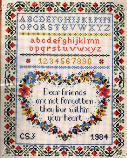 FRIENDSHIP HEART CROSS STITCH SAMPLER SUE TERGLOWN