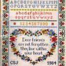 RARE FRIENDSHIP HEART CROSS STITCH SAMPLER SUE TREGLOWN NOT FORGOTTEN
