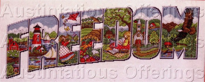 JOAN ELLIOTT AMERICANA CROSS STITCH SAMPLER KIT HIDDEN IMAGES FREEDOM