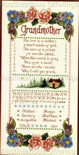 HARD TO FIND WILLIAMS FLORAL SAMPLER CROSS STITCH KIT GRANDMOTHER