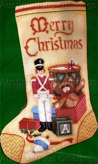 RARE LECLAIR VINTAGE TOY SOLDIER CHRISTMAS TOYS NEEDLEPOINT STOCKING KIT BOY
