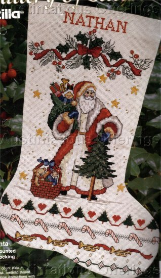 FOLK ART SANTA CROSS STITCH STOCKING KIT WOODLAND PERE NOEL SAMPLER