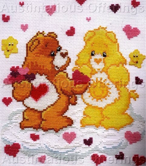 TENDERHEART CARE BEAR CROSS STITCH KIT TEDDY SUNSHINE CLOUDS