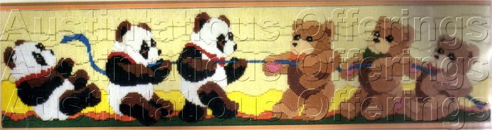 PANDA BEAR  LONGSTITCH NEEDLEPOINT KIT TUG OF WAR TEDDY