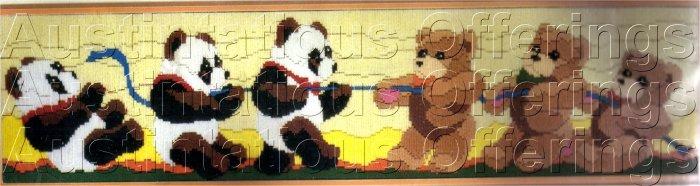 PANDA BEAR  LONGSTITCH NEEDLEPOINT KIT TUG OF WAR TEDDY