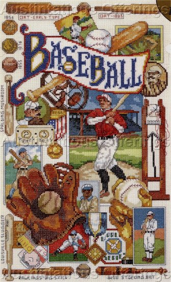 RARE GILLUM VINTAGE STYLE BASEBALL SAMPLER CROSS STITCH KIT GLOVE