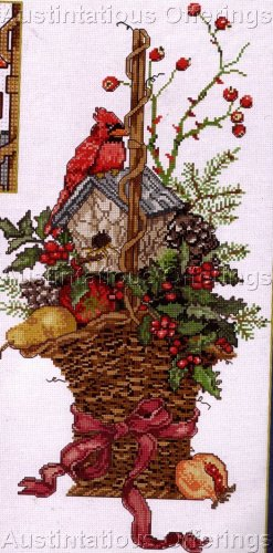 CARDINAL HOUSE WINTER BERRY BASKET CROSS STITCH KIT