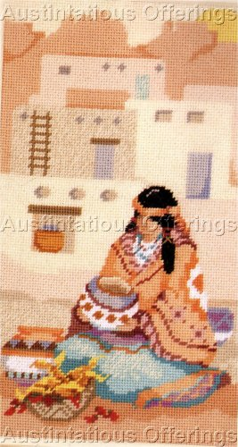 RARE GILLUM SOUTHWEST PUEBLO NATIVE AMERICAN MAIDEN NEEDLEPOINT KIT