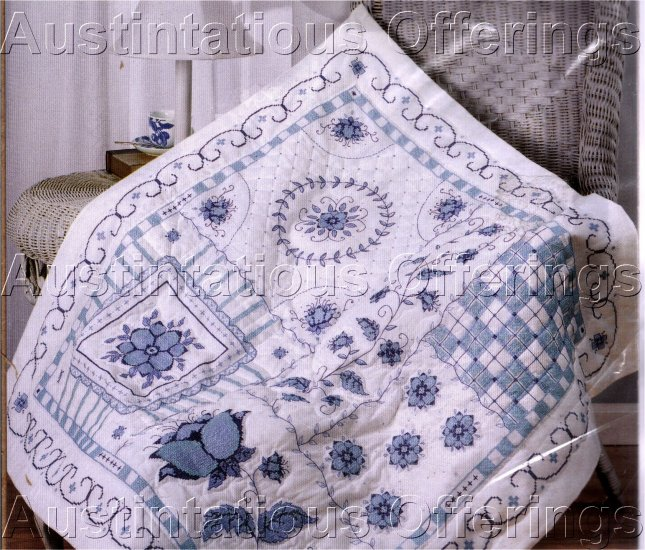 CROSS STITCH BLUE FLORAL LAP QUILT  KIT  TULIPS WREATH SCROLLS & MORE