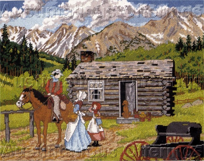 HARD TO FIND RUSTIC SLOANE NEEDLEPOINT KIT OLD WEST PIONEERS