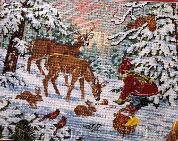 RARE WINTER SLOANE WOODLAND ANIMALS NEEDLEPOINT KIT CHRISTMAS GIFTS