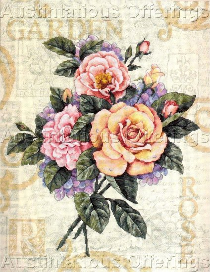 SUMMER CABBAGE ROSE & HYDRANGEA BOUQUET CROSS STITCH KIT