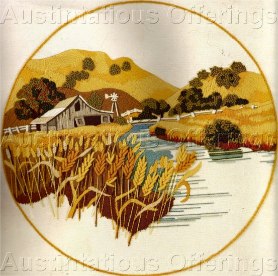 HARD TO FIND GERRISH SUMMERFARM CREWEL EMBROIDERY KIT WHEAT FIELDS