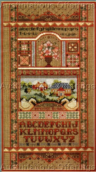 RARE LINEN VICTORIAN BAND STYLE SAMPLER CROSS STITCH KIT