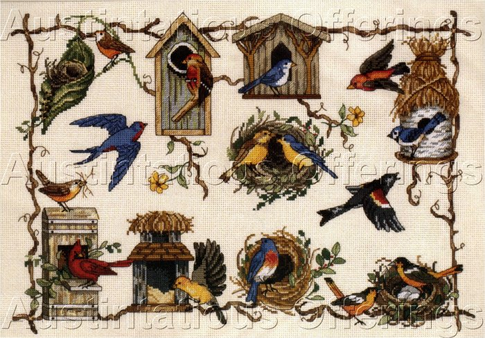 RARE HAND BIRDHOUSE COLLECTION CROSS STITCH KIT SWALLOWS NEST & MORE