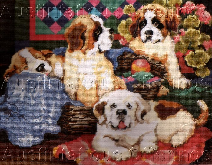 RARE GILLUM SAINT BERNARD PUPS NEEDLEPOINT KIT ST BERNARD DOG