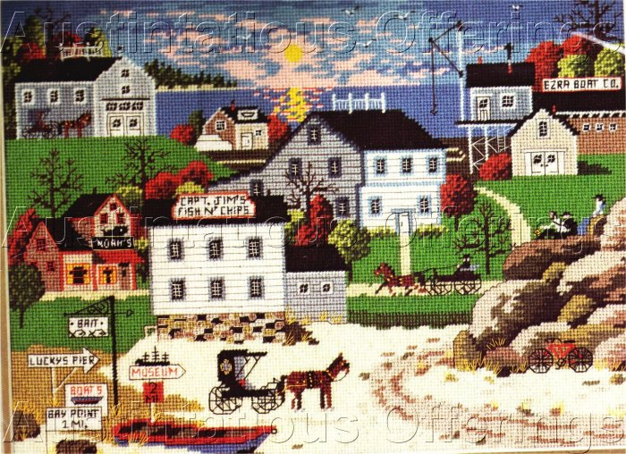 RARE WYSOCKI SEA SIDE FOLK ART NEEDLEPOINT KIT HARBOR VILLAGE