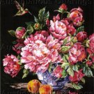 RARE DRAMATIC ROSSI HUMMINGBIRD FLORAL NEEDLEPOINT KIT PEONY STILL LIFE