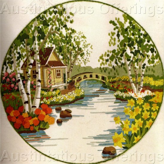 HTF GERRISH COTTAGE GARDEN CREWEL EMBROIDERY KIT SPRING BRIDGE